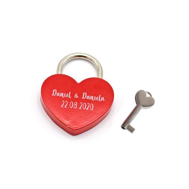 Cadenas d'amour cœur personnalisé rouge 5,5 cm