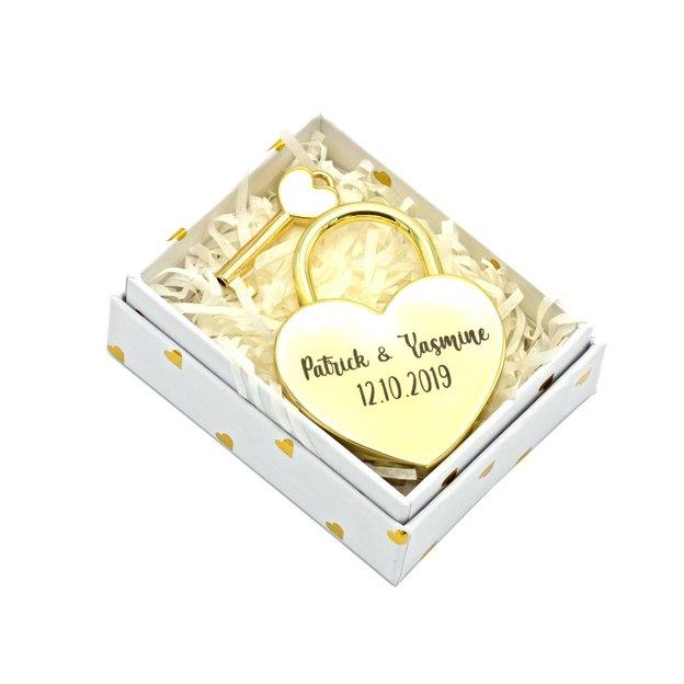 Personalisierbares Liebesschloss Herz 5.5cm gold