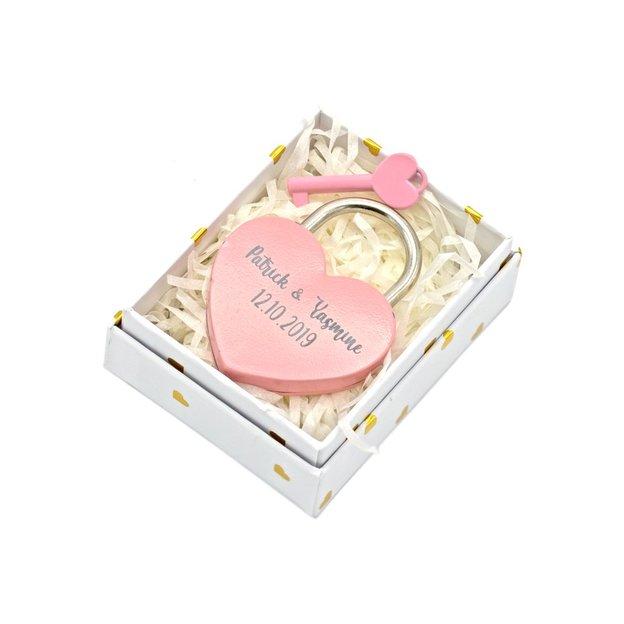 Personalisierbares Liebesschloss Herz 5.5cm rosa