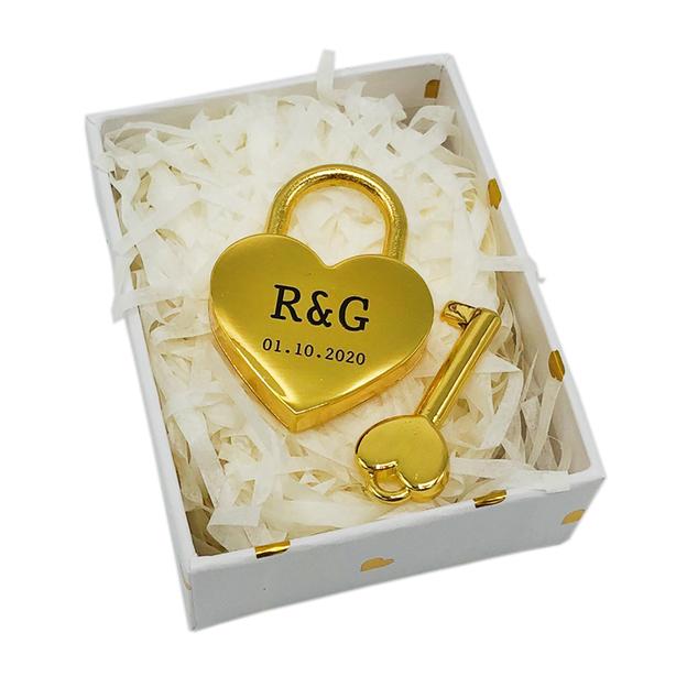 Cadenas d'amour cœur personnalisé or 4 cm
