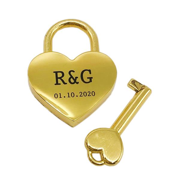 Personalisierbares Liebesschloss Herz 4cm gold
