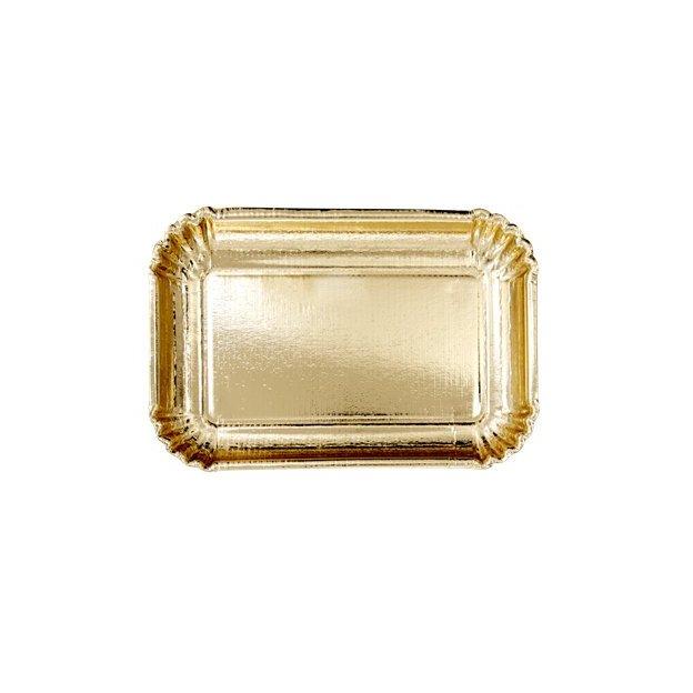 Assiettes en carton or rectangle Rice, 6 pièces