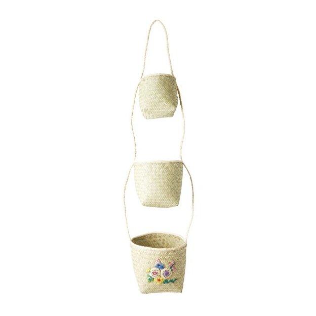 Paniers Rice brodés de fleurs à suspendre