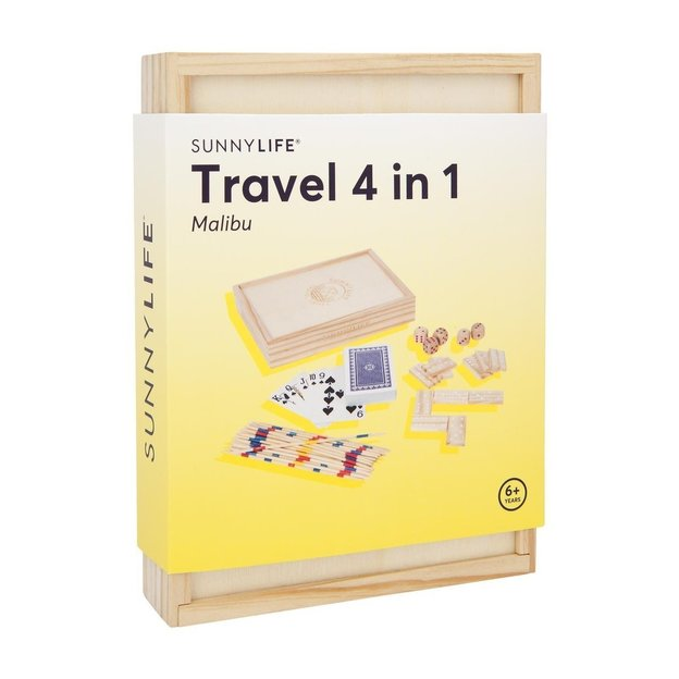 Coffret de jeux de voyage en bois Sunnylife 4 en 1