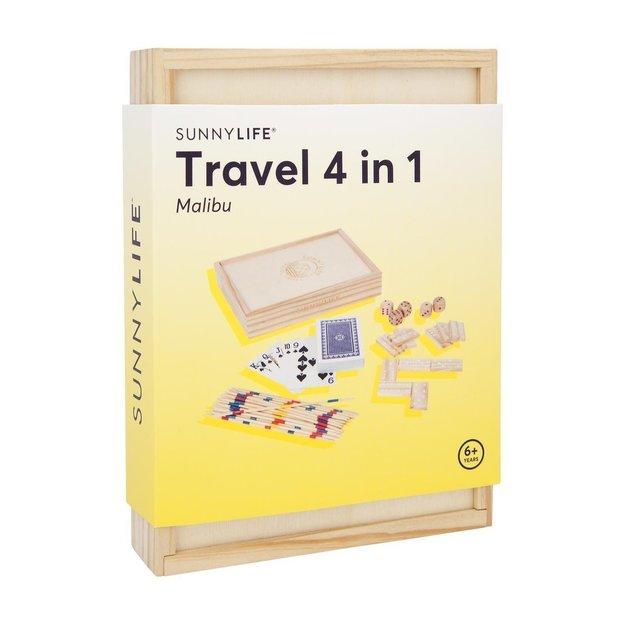 Sunnylife 4 in 1 Holz-Spielesammlung in Reisegrösse
