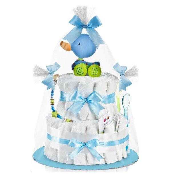 Gâteau de couches 2 étages + canard à tirer, bleu