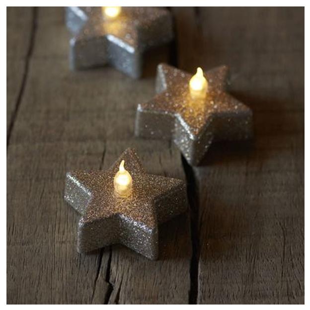 Sirius Bougies chauffe-plat à LED 4,5 cm x 2 cm, set de 6, étoile, champagne