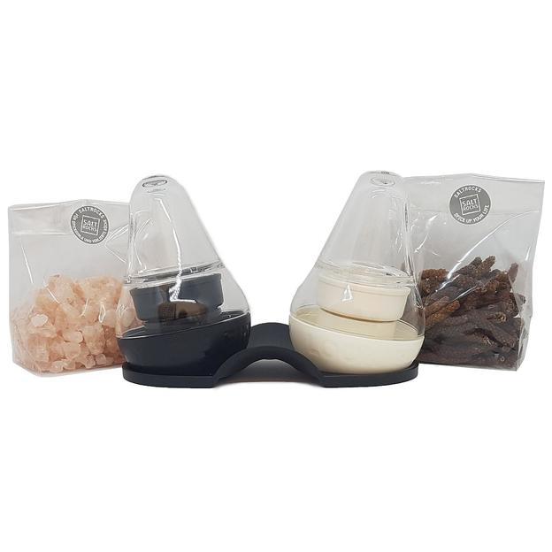 Salz- und Pfeffermühlen mit Dosiermulde und Tablett - inkl. Rosa Andensalz und Bio Langpfeffer