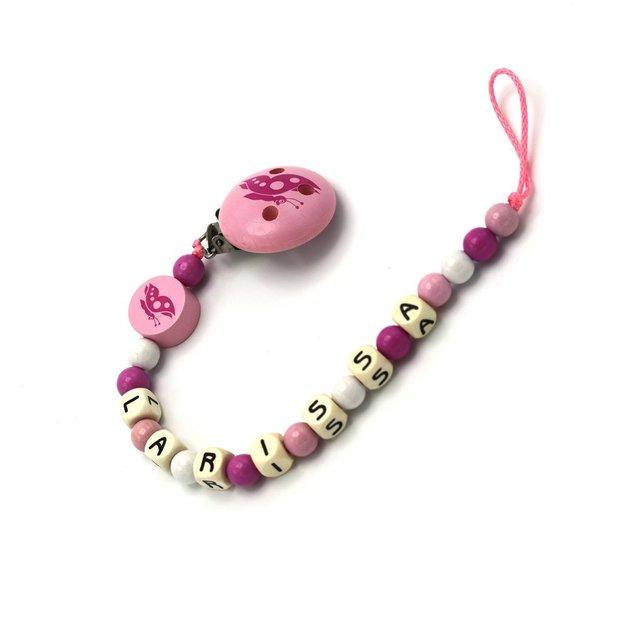 Attache-tétine personnalisée Papillon, rose
