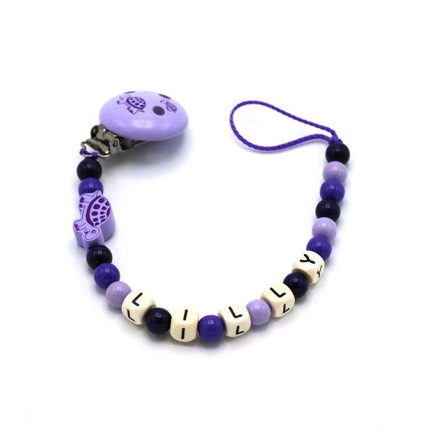 Attache-tétine personnalisée Tortue, violet
