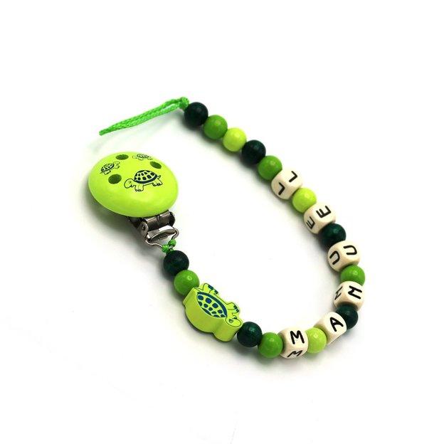 Personalisierbare Nuggikette Schildkröte grün