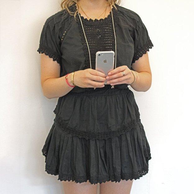 Handyhülle iPhone 6/7/8 Schulterbändel silber