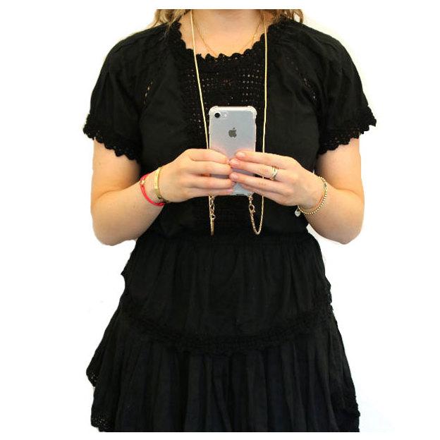 Coque de téléphone portable iPhone 6 / 7 / 8 bandoulière or