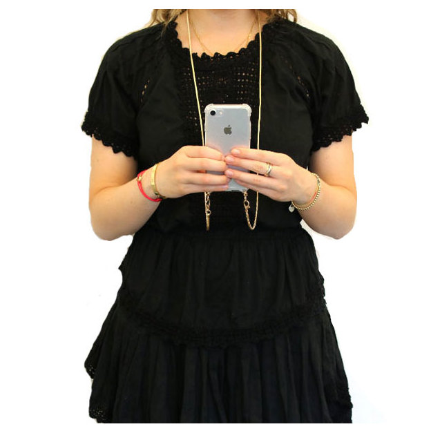 Handyhülle iPhone 6/7/8 Schulterbändel gold