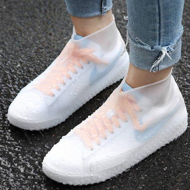 Couvre-chaussures en latex transparent, 2 pièces