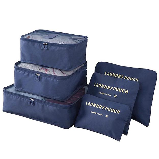Organisateur de valise 6 pièces, bleu foncé