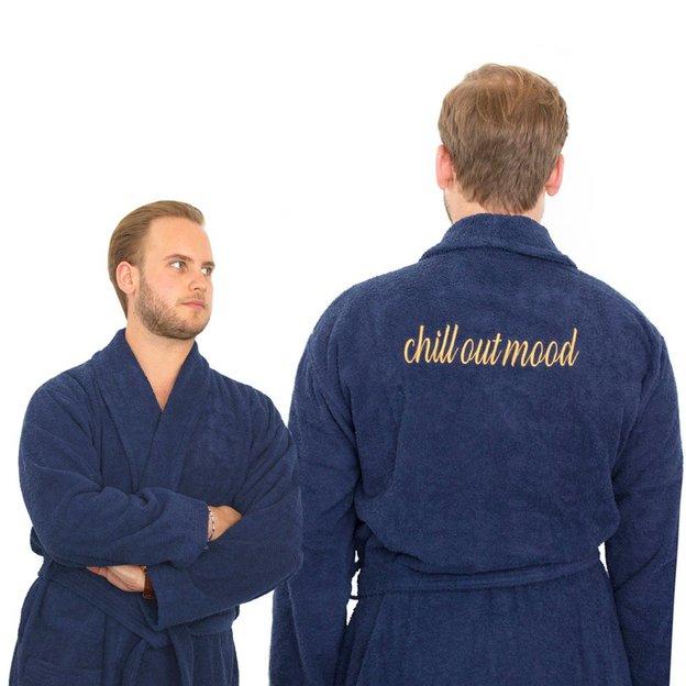 Peignoir personnalisé broderie bleu