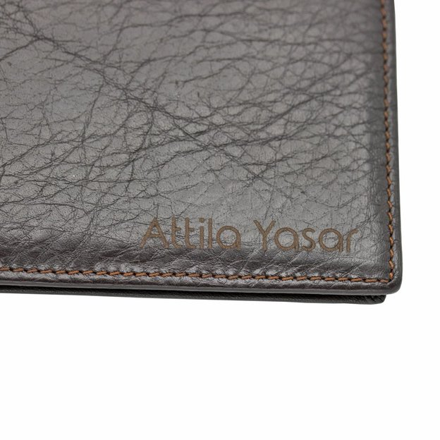 Personalisierbares Leder Portemonnaie dunkelbraun