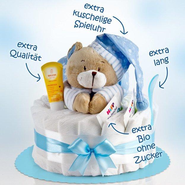 Gâteau de couches avec ourson musical, bleu