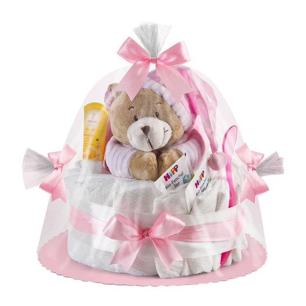 Gâteau de couches avec ourson musical, rose