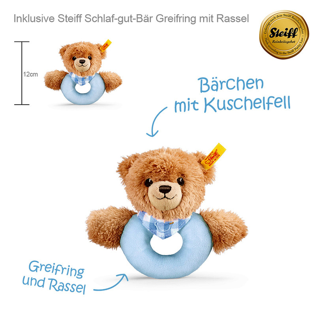 Windeltorte Steiff Bärchen inkl. Rassel blau
