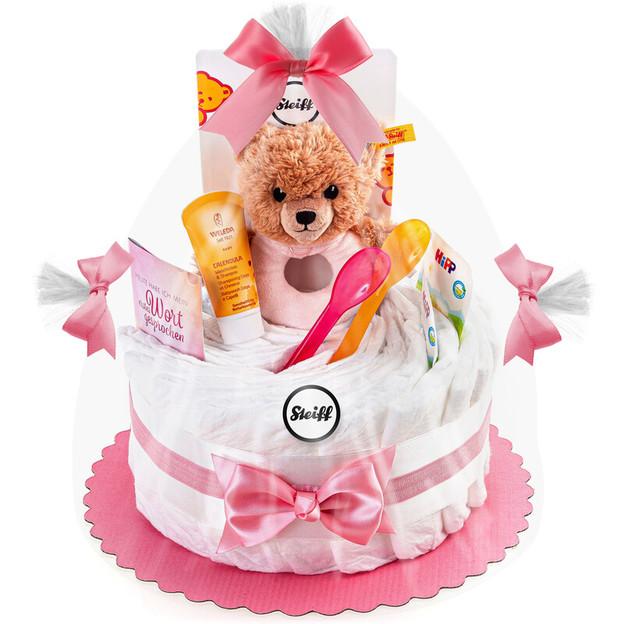Gâteau de couches avec ourson hochet Steiff, rose