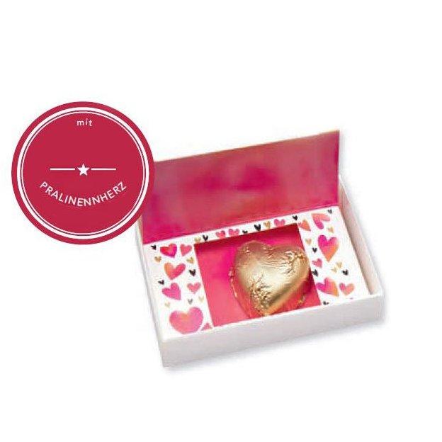 Schokoladenherz in der Box mit Flip-Schachtel