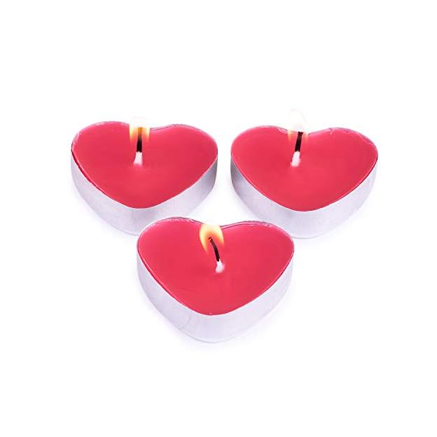 Bougies Cœurs rouges, 50 pièces