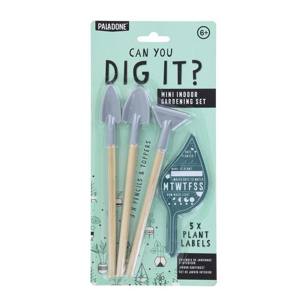 Set mini-outils, crayons gris et étiquettes jardinier