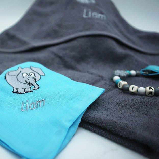 Personalisierbares Geschenkset Elefant, mit Badetuch, Nuscheli und Nuggikette