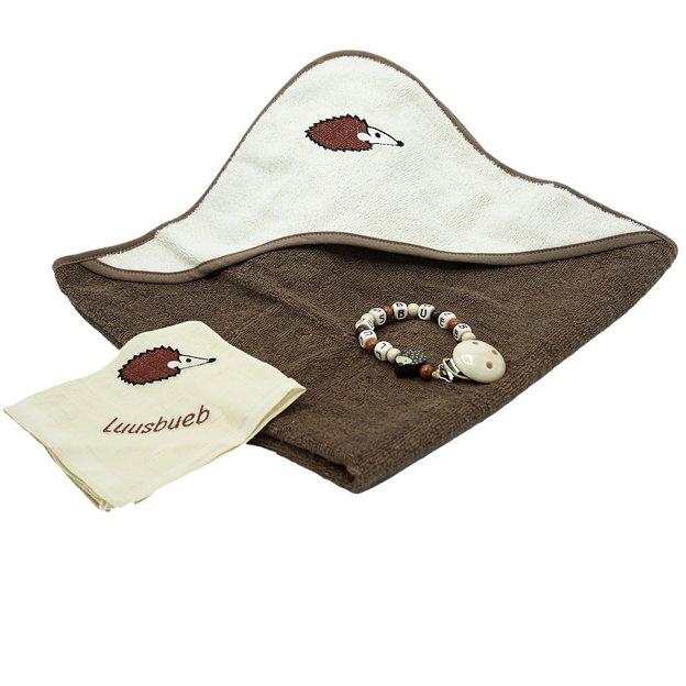 Personalisierbares Geschenkset Igel, mit Badetuch, Nuscheli und Nuggikette