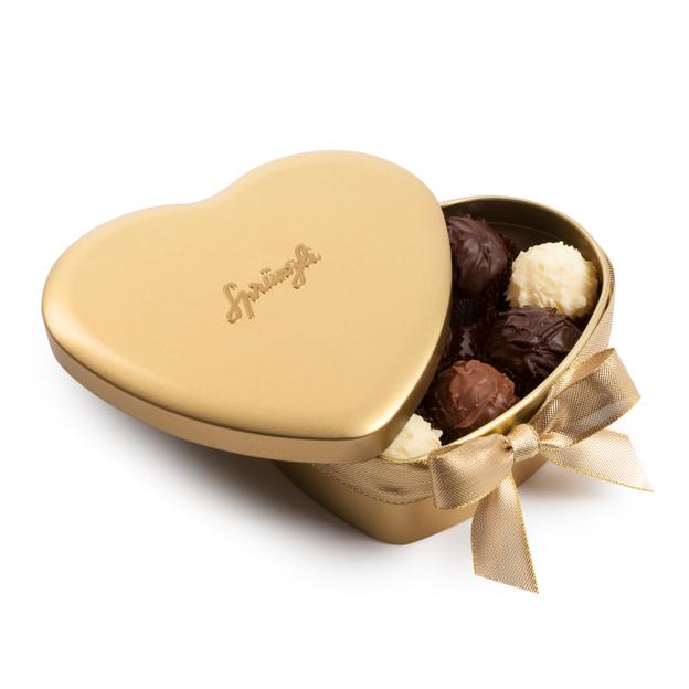Boîte cœur Sprüngli avec truffes à la crème, 10 pièces