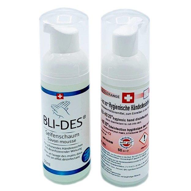 Set de 2 produits : désinfectant et mousse lavante pour les mains - fabriqués en Suisse