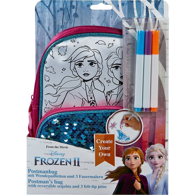 "Frozen 2 Schultertasche ""Create your own"" Set inkl. 3 Fasermalern"