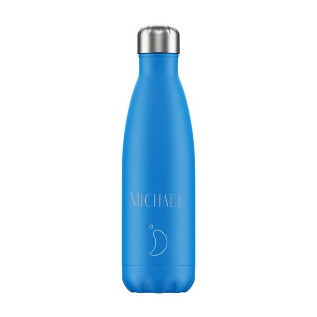 Personalisierbare Chilly's Bottles, Trinkflasche-Blau Neon-Standard-500ml