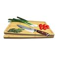 Edles Damaststahl-Messer mit Pakka–Holzgriff, 20cm Klinge inkl. 2 Bambusschneidbretter
