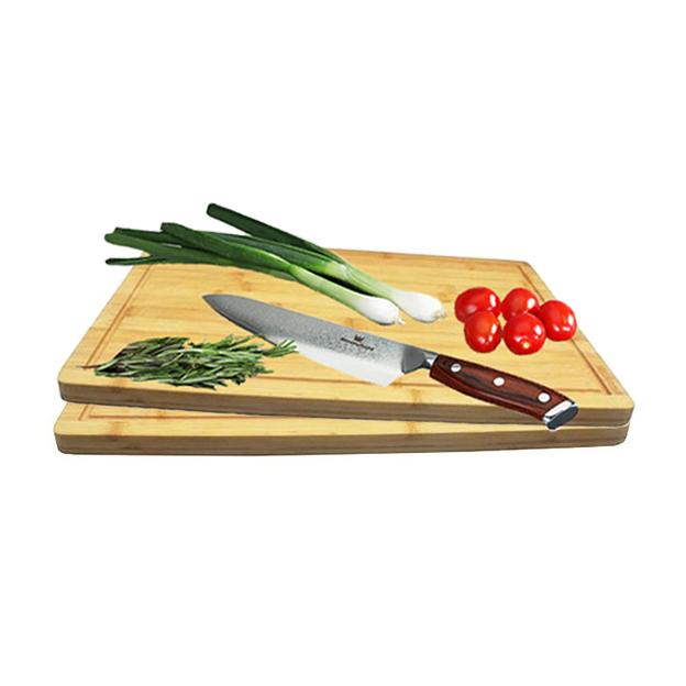 Couteau en acier inoxydable de Damas 20 cm avec 2 planches à découper