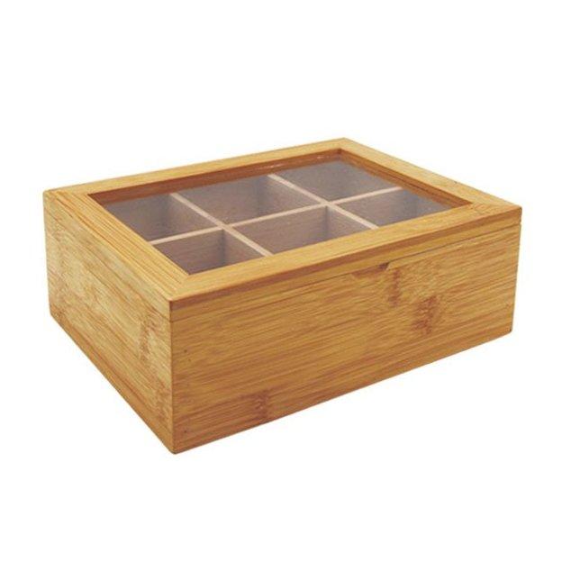 Boîte à thé en bambou avec 6 compartiments pour 80 sachets