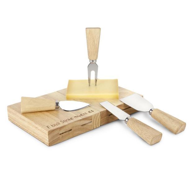 Personalisierbarer Käsemesser-Block mit Besteck