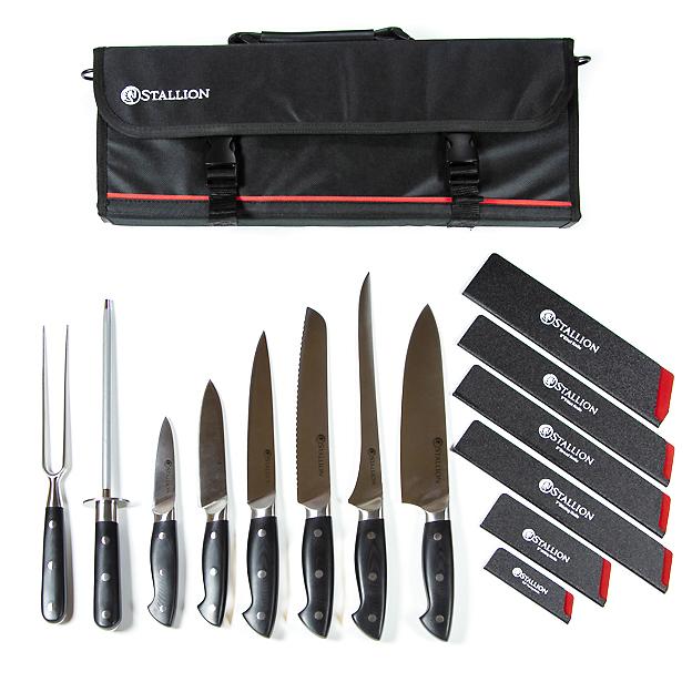 Set de couteaux professionnels Stallion – 6 couteaux, aiguiseur, fourchette à viande et étui