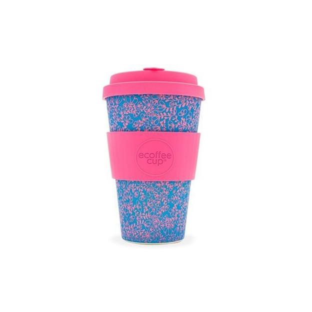 Travel mug Ecoffee en bambou bleu/rose 400 ml