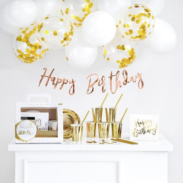 Party Dekorations-Set Happy Birthday Sparkling Gold, 60-teilig