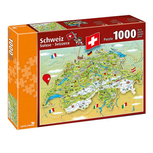 Carte illustrée de Suisse - Puzzle de 1000 pièces