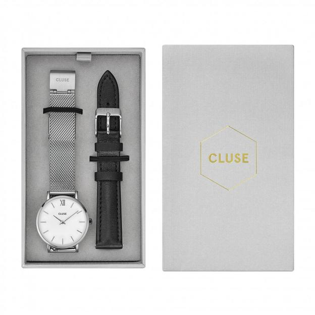 Cluse Geschenkset Minuit Analoguhr Mesh Silver/Black