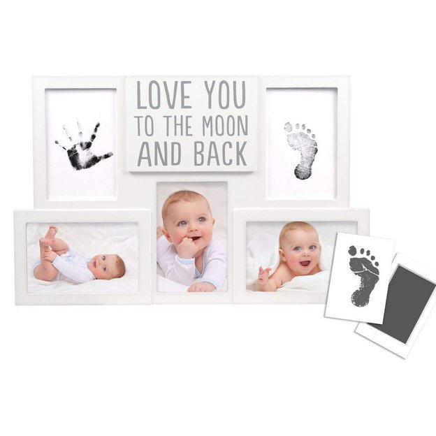 Cadre avec empreintes « love you to the moon and back »