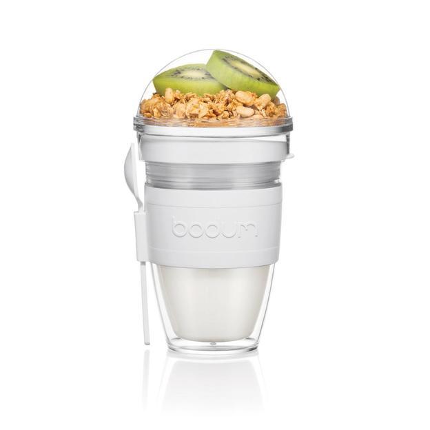 Mug double paroi pour yaourt avec récipient pour muesli grise