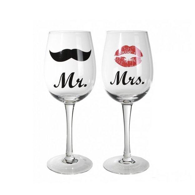 Weinglas Mrs. & Mr.