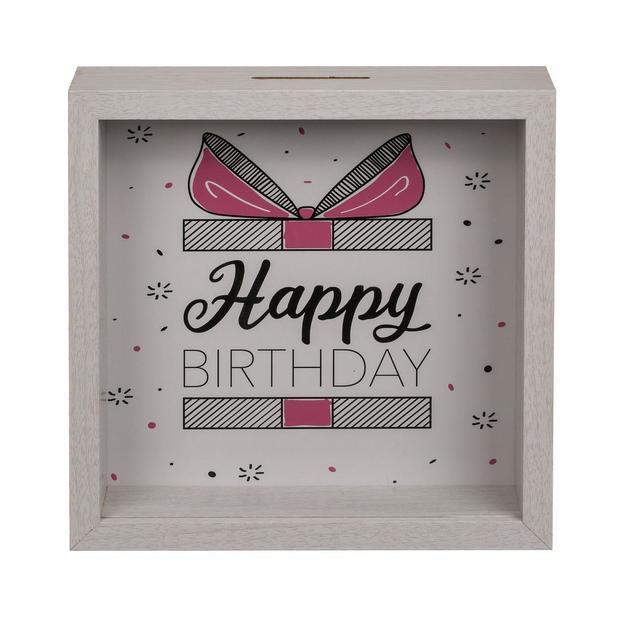 Tirelire en bois Happy Birthday