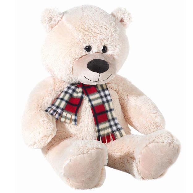 Riesen Teddybär XXL beige mit Schal 80cm