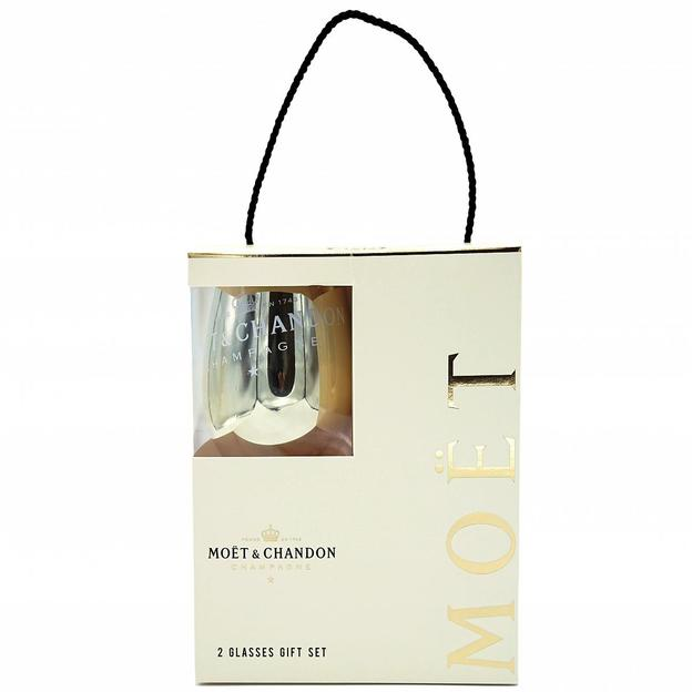 Geschenkset Moët & Chandon N.I.R DRY mit LED inkl. 2er-Set Gläser